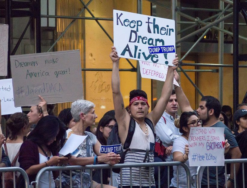 <em>Protesters gather in support of DACA at Trump Tower in New York City.</em>