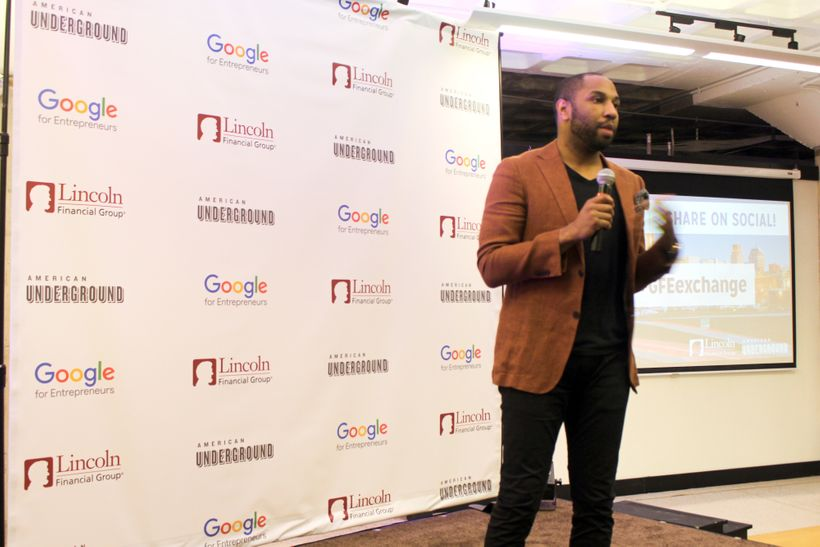 Emmanuel Matthews, Innovation Coach at Google, addresses the audience at American Underground for the program's closing pitch