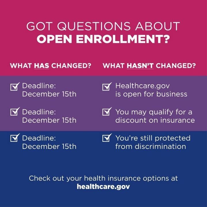 [Image] Infographic by Out2Enroll.org, explaining the differences in  open enrollment this year. In short, nothing has chang