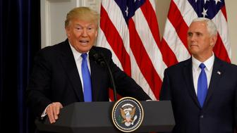 U.S. President Donald Trump speaks at the first meeting of the Presidential Advisory Commission on Election Integrity chaired by Vice President Mike Pence (R) at the White House in Washington, U.S., July 19, 2017.  REUTERS/Kevin Lamarque