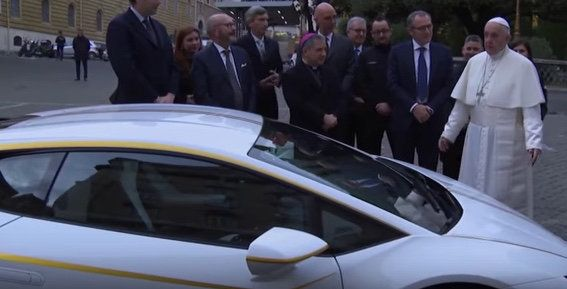 Pope Francis with his new special-edition Lamborghini
