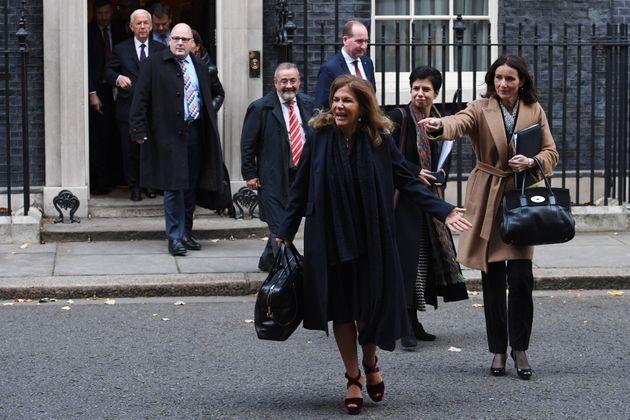 BusinessEurope president Emma Marcegagia (front) and CBI director general Carolyn Fairbairn (right) leaving...