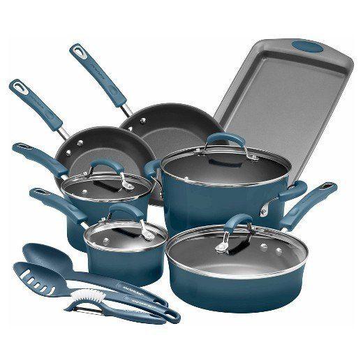 "Full price: $150<br><a href=""https://www.target.com/p/rachael-ray-porcelain-enamel-aluminum-nonstick-14-piece-cookware-set/-/"