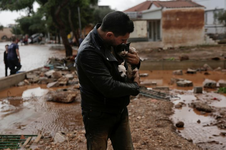 A local, carrying a dog in his jacket, holds a cat he saved from a tree, following a heavy rainfall in the town of Mandra.