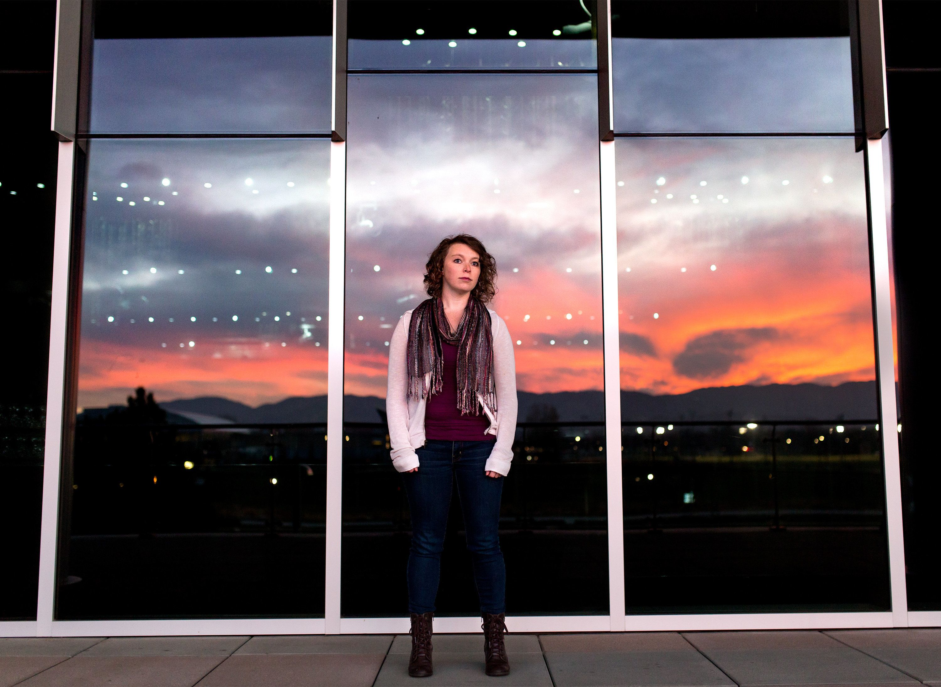Chelsea Sobolik poses for a portrait at Colorado State University in Fort Collins, Colo. on Nov. 10, 2017. Sobolik is a survivor of the Aurora Theatre Shooting in 2012. (Photo by Autumn Parry)
