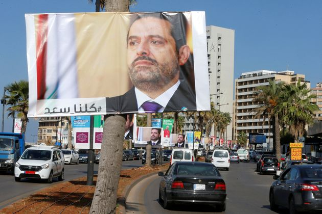 Posters of Lebanese Prime Minister Saad al-Hariri line the streets in Beirut. Many in Lebanon remain...
