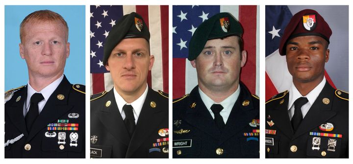 Left to right: Staff Sgt. Jeremiah Johnson, Staff Sgt. Bryan Black, Staff Sgt. Dustin Wright and Sgt. La
