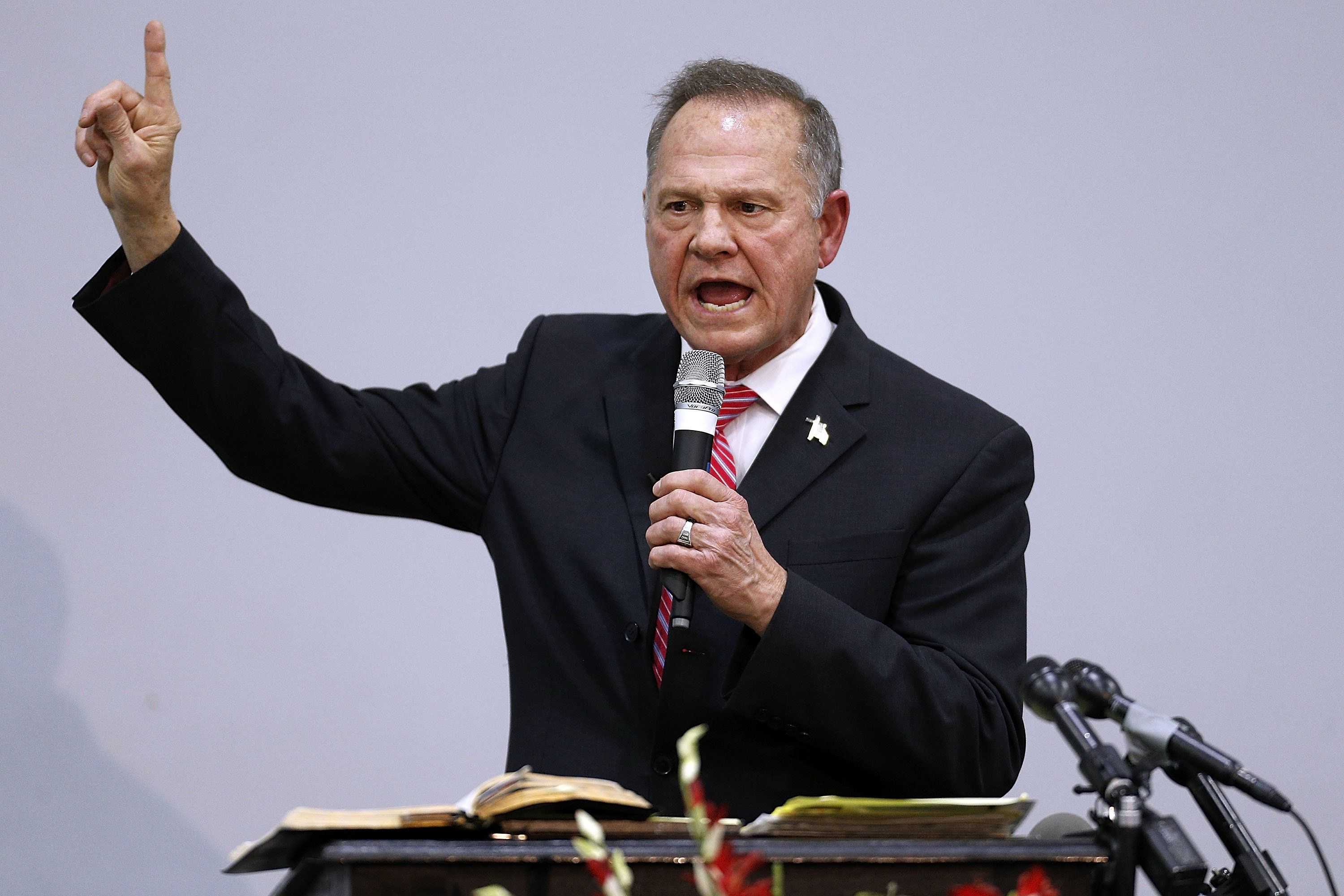 Roy Moore, the Republican candidate for Senate in Alabama, speaks during a campaign event on Tuesday.