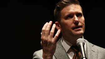 GAINESVILLE, FL - OCTOBER 19:  White nationalist Richard Spencer, who popularized the term 'alt-right' speaks during a press conference at the Curtis M. Phillips Center for the Performing Arts on October 19, 2017 in Gainesville, Florida. Spencer delivered a speech on the college campus, his first since he and others participated in the 'Unite the Right' rally, which turned violent in Charlottesville, Virginia.  (Photo by Joe Raedle/Getty Images)