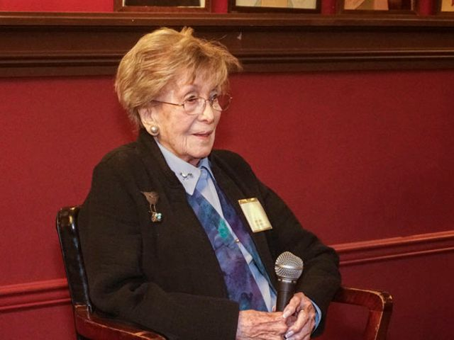 <em>Betty Corwin receiving her Lifetime Achievement Award at Sardi's Restaurant in NYC on November 8, 2017. </em>