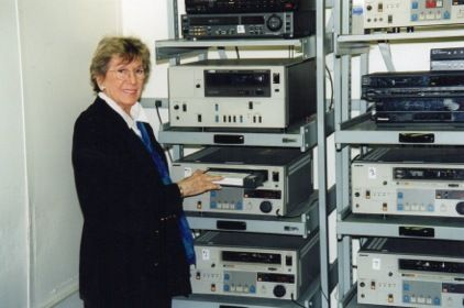 <em>Betty Corwin with the video tape recorders in Lincoln Center in 1998. </em>