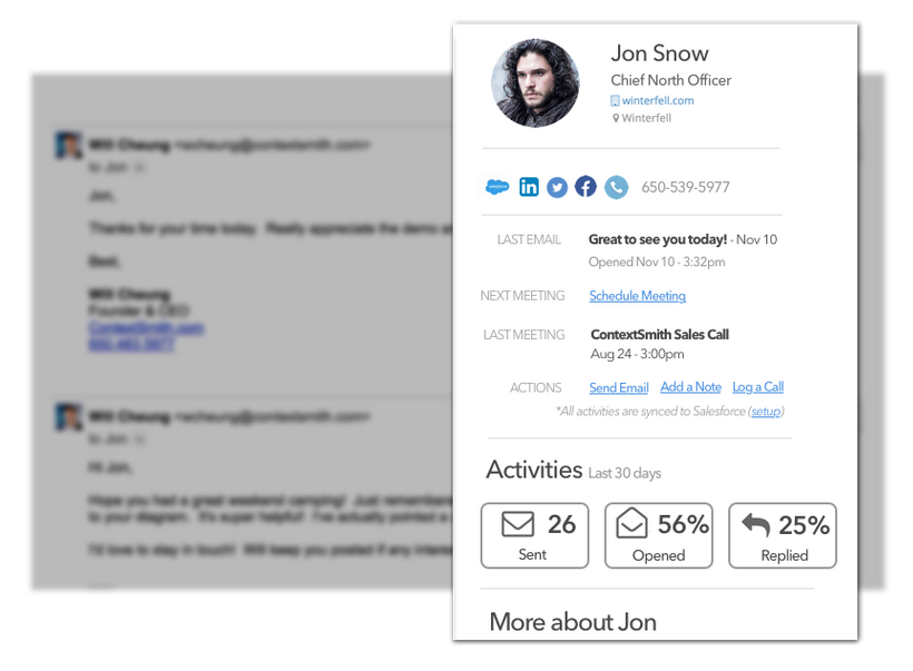<em>ContextSmith Email Tracker also provides links to your contact's social profile and more.</em>