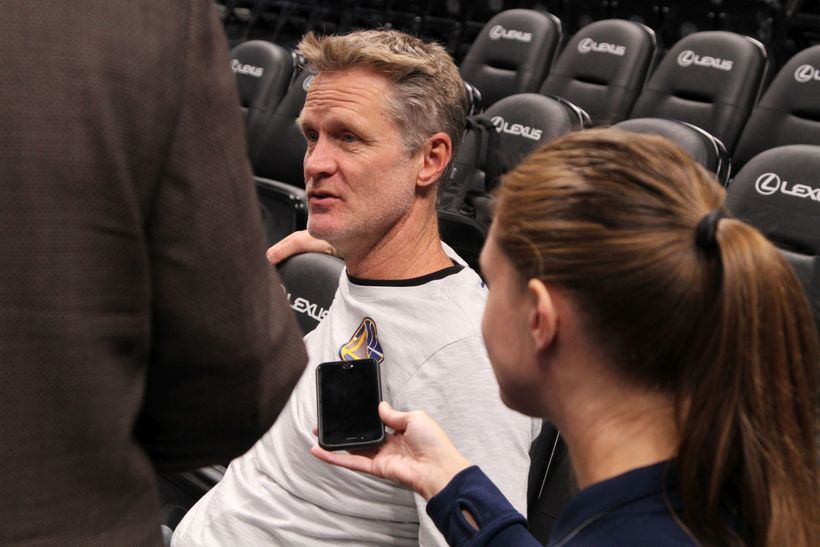 Golden State Warriors Head Coach Steve Kerr addresses the media following the team's morning shoot around.