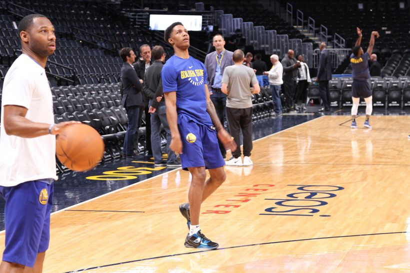 Golden State Warriors second year forward Patrick McCaw waits to see if his three point attempt goes in during pregame warmup