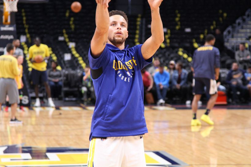 Stephen Curry with the perfect follow through during pregame warmups.