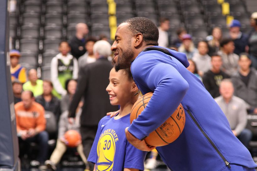 Golden State Warriors forward, and 2015 NBA Finals MVP, Andre Igoudala took a quick pause from pregame warmups to pose with a