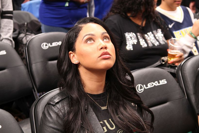 Stephen Curry's wife, Ayesha Curry, sitting courtside prior to the start of the game.
