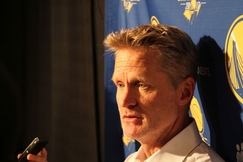 Steve Kerr addressed reporters outside the Warriors locker room following the team's 127-108 victory.