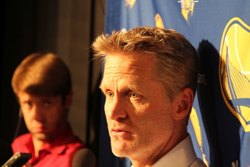Steve Kerr addressed reporters outside the Warriors' locker room following the team's 127-108 victory.