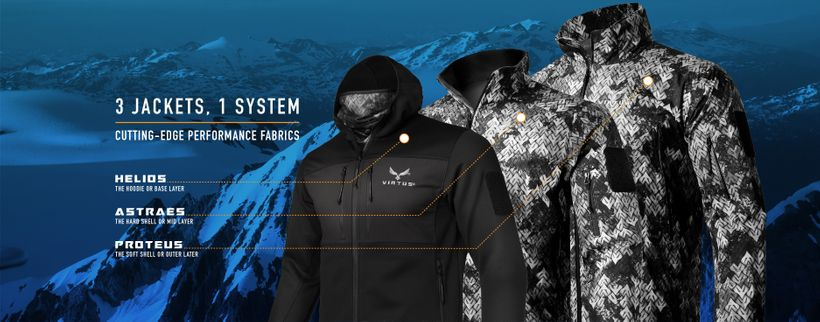 Virtus' signature 3 Jacket System can take you from a chilly summer evening to the arctic tundra.