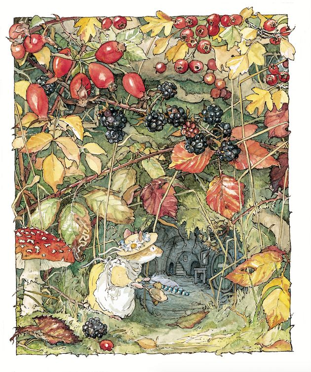 One of Jill Barklem's 'Brambly Hedge' illustrations. Her intricate cross-sections of trees inhabited...
