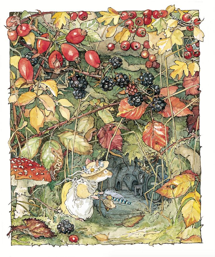 One of Jill Barklem's 'Brambly Hedge' illustrations. Her intricate cross-sections of trees inhabited by mice were much loved.