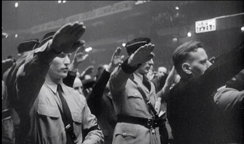 <strong>Nazi salutes at Madison Square Garden.</strong>