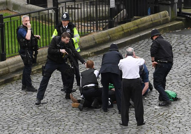 Armed police during the Westminster Bridge terror