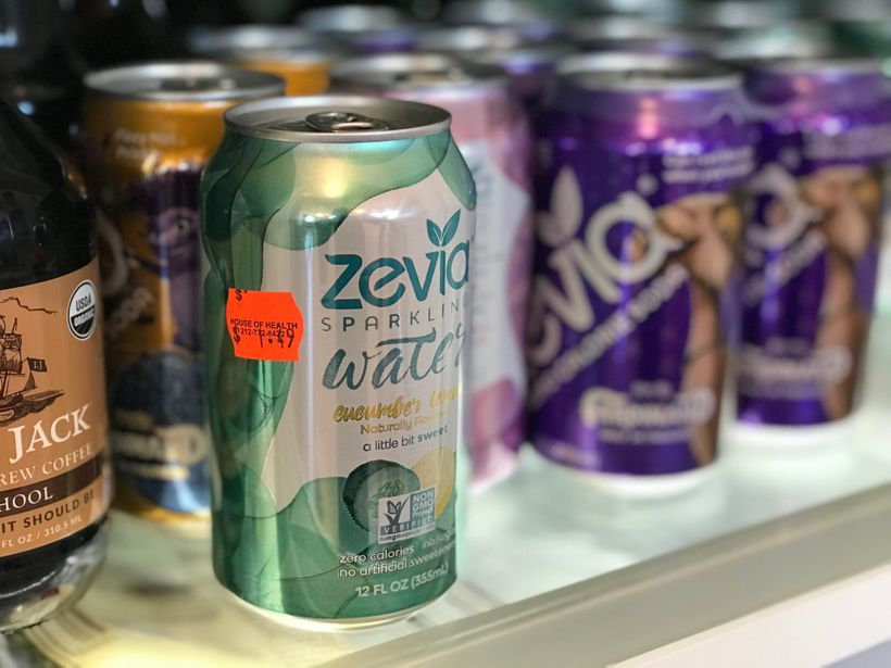 Our fridge, stocked with Zevia.