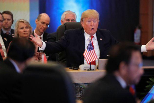 Jonathan Ernst  Reuters                   Trump at the ASEAN Summit in Manila Philippines on November 13