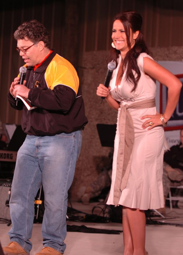 Franken and Tweeden perform a skit in Kuwait during the 2006 USO