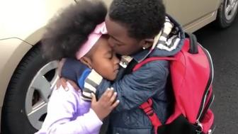 These siblings cant wait to see each other after school