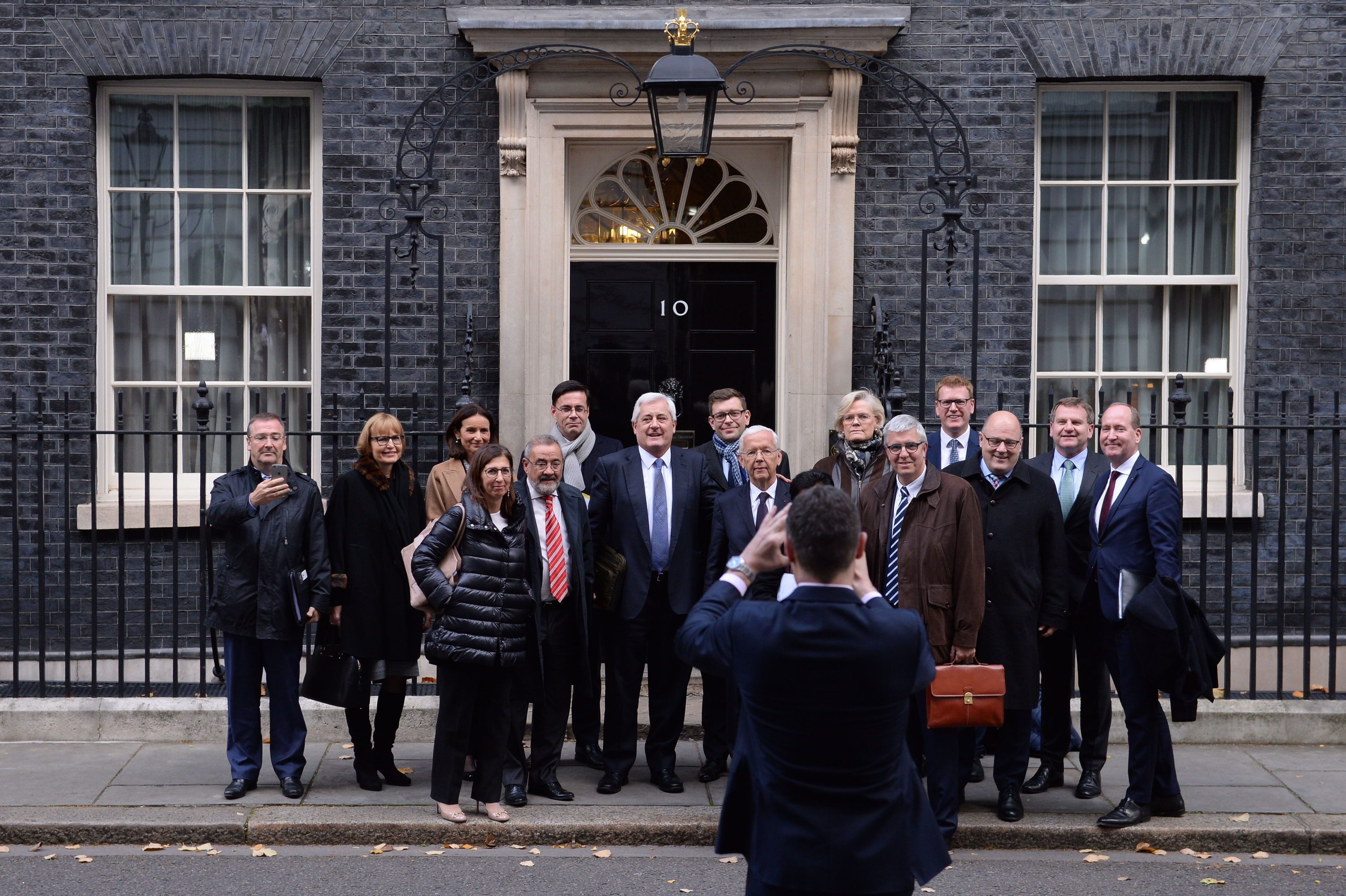 <i>Business leaders from Europe and the UK pose for a group photo as they leave 10 Downing Street, London, after a meeting with Prime Minister Theresa May to discuss the future of UK-EU trade post-Brexit.</i>