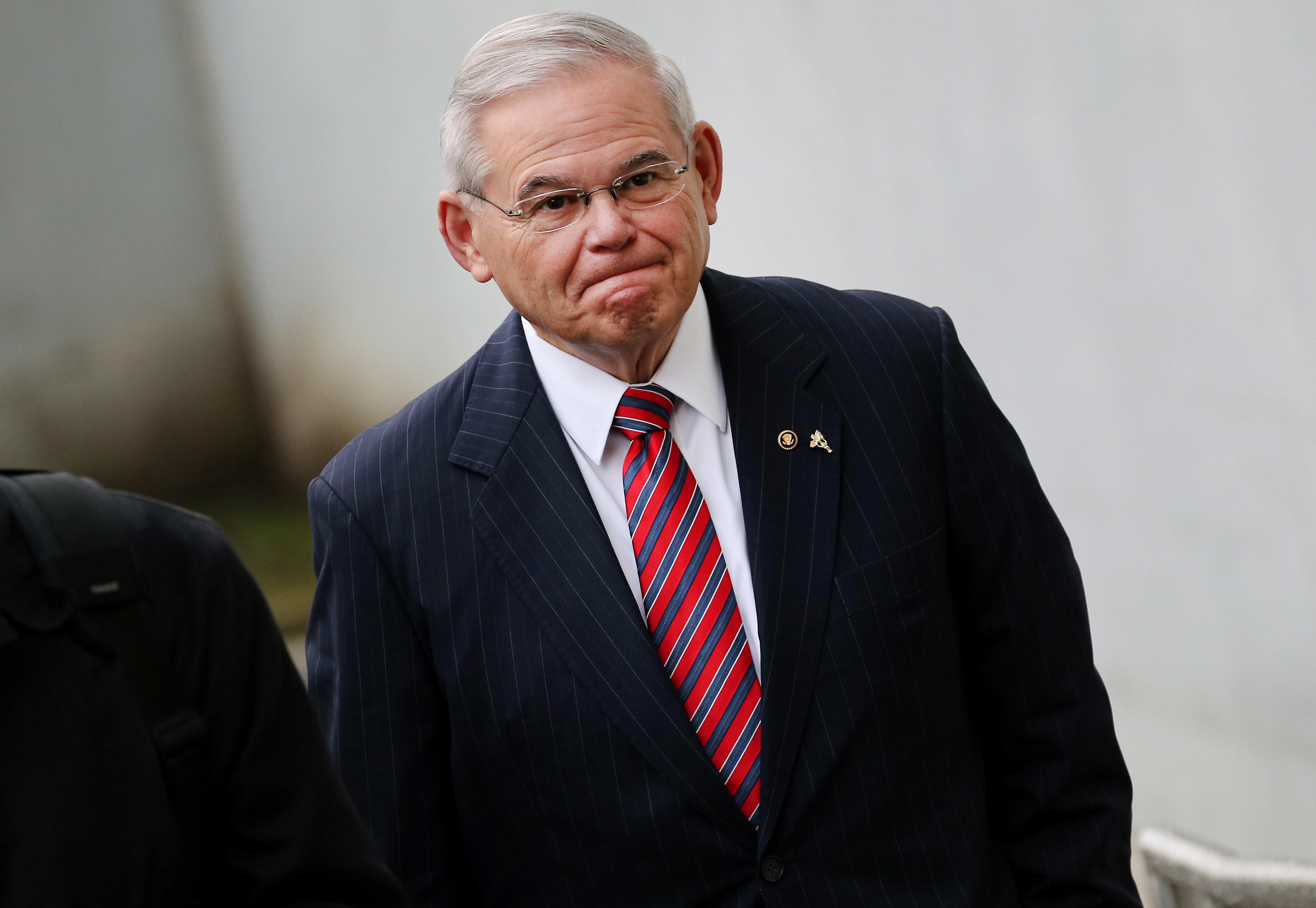 Sen. Bob Menendez (D-N.J.) arriving at federal court in Newark, New Jersey, on Thursday.