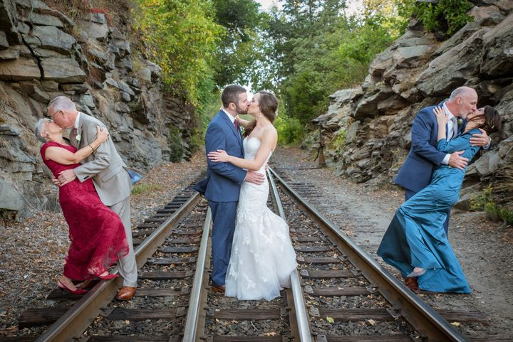 A married couple captured two generations of love in their wedding photos.