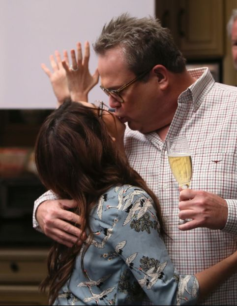 """Actors Sarah Hyland (L) and Eric Stonestreet attend the ABC celebration of the 200th episode of """"Modern Family"""" at Fox Studio"""
