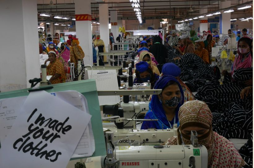 Bangladeshi garment workers engage with #whomademyclothes in Dhaka.