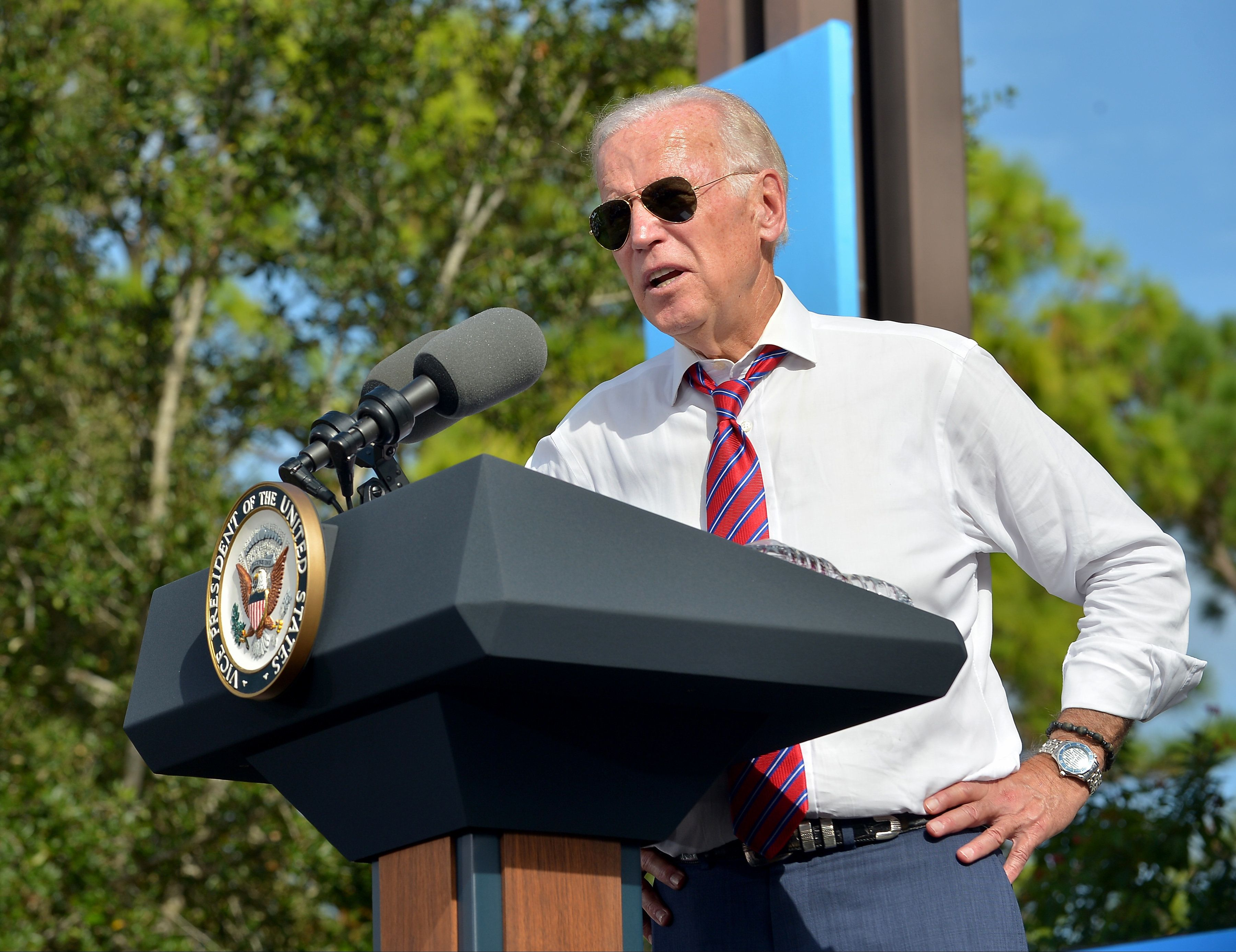 PALM BEACH GARDENS, FL - NOVEMBER 02:  Vice President Joe Biden speak to supporters during a public campaign rally for 'Get Out The Early Vote' for Democratic presidential nominee Hillary Clinton at Palm Beach State College-Amphitheater (Center of Campus) on November 2, 2016 in Palm Beach Gardens, Florida. Vice President Biden will urge Floridians to take advantage of early voting right away with six day left for election.  (Photo by Johnny Louis/FilmMagic,)