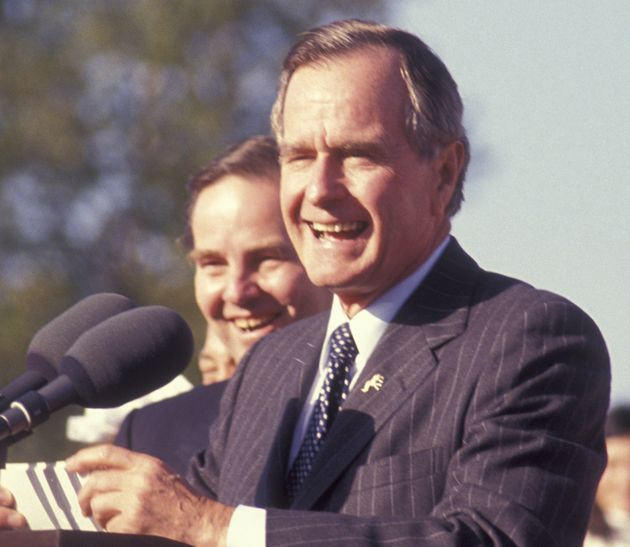 George H.W. Bush attends Campaign Rally on October 22, 1992, at Veterans Field in Ridgewood, New