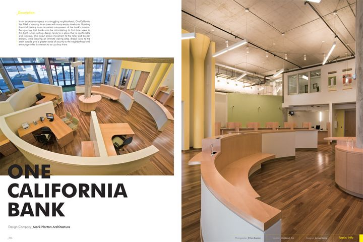 One California Bank is featured in a book where the editorial premise is to highlight the evolution of bank interiors in the