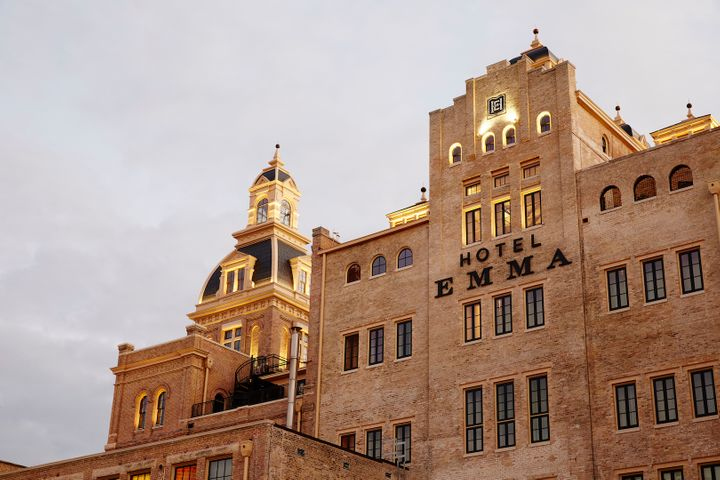 <p>Hotel Emma's facade maintains original detail from Pearl Brewery. </p>