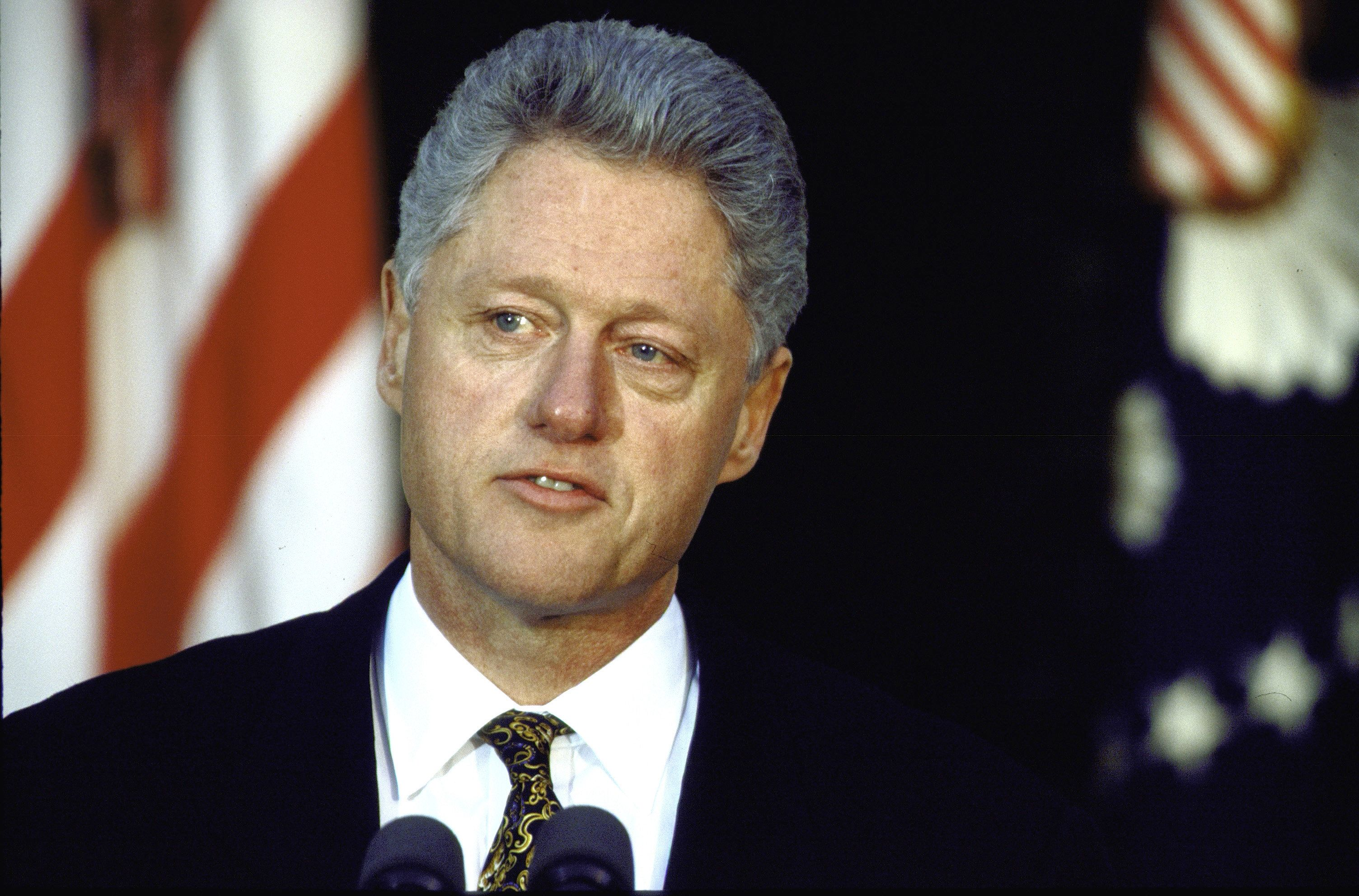 Pres. Bill Clinton speaking in serious portrait in White House Rose Garden, apologizing for his conduct in Lewinsky matter.  (Photo by Cynthia Johnson/The LIFE Images Collection/Getty Images)