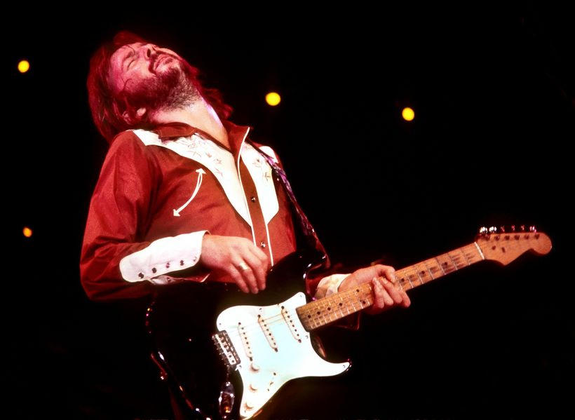 Eric Clapton playing his guitar in his bio/doc.