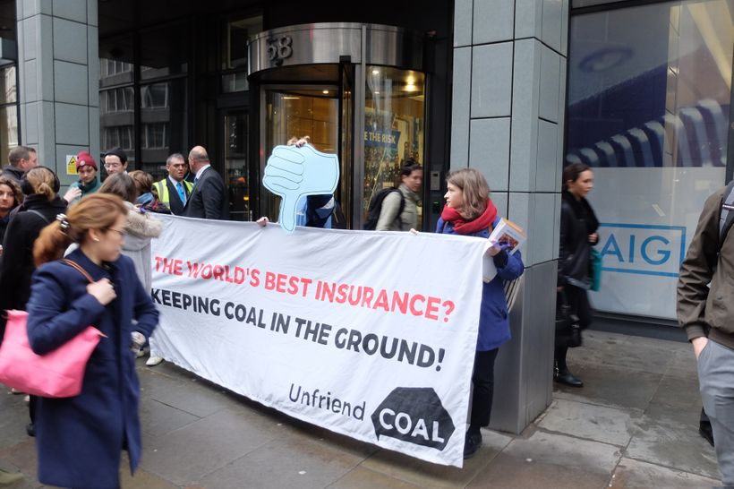 Unfriend Coal protest at AIG in London