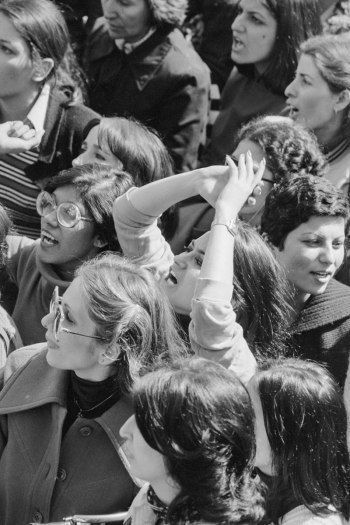 A candid shot from the Women's Uprising of March 1979, captured by Iranian photographer Hengameh Golestan.