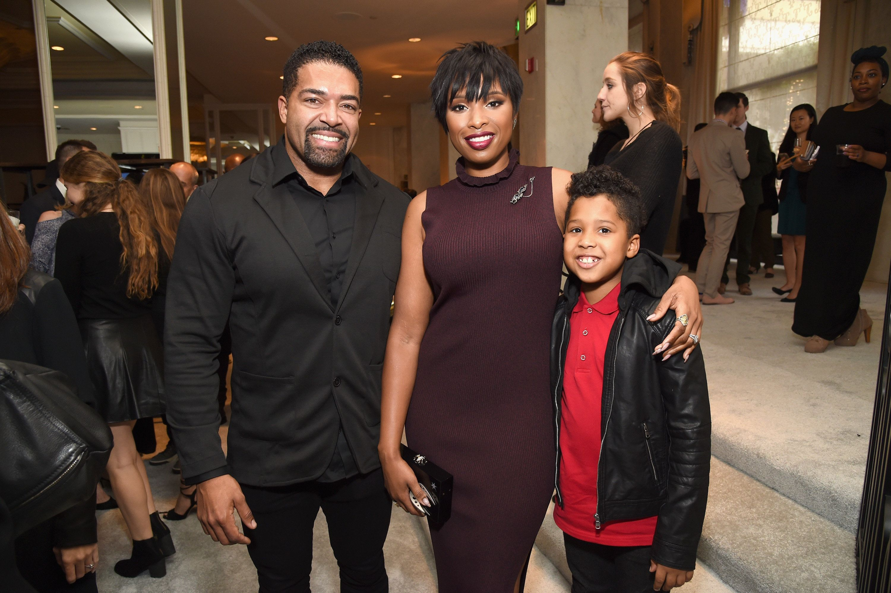 BEVERLY HILLS, CA - DECEMBER 09:  (L-R) Wrestler David Otunga, honoree Jennifer Hudson and David Otunga Jr. attend 2016 March of Dimes Celebration of Babies at the Beverly Wilshire Four Seasons Hotel on December 9, 2016 in Beverly Hills, California.  (Photo by Michael Kovac/Getty Images for March of Dimes )