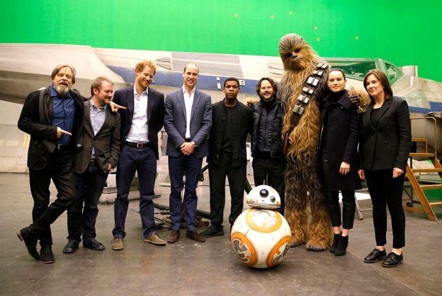 Harry and William withMark Hamill, Rian Johnson, John Boyega, producer Ram Bergman, Chewbacca Daisy...