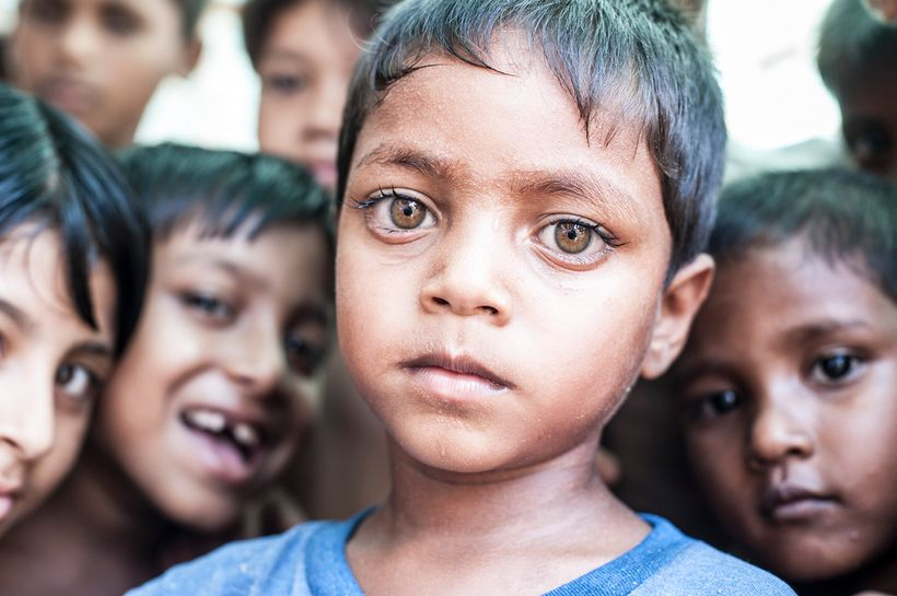 Rohingya children affected by the human rights violations in Myanmar.
