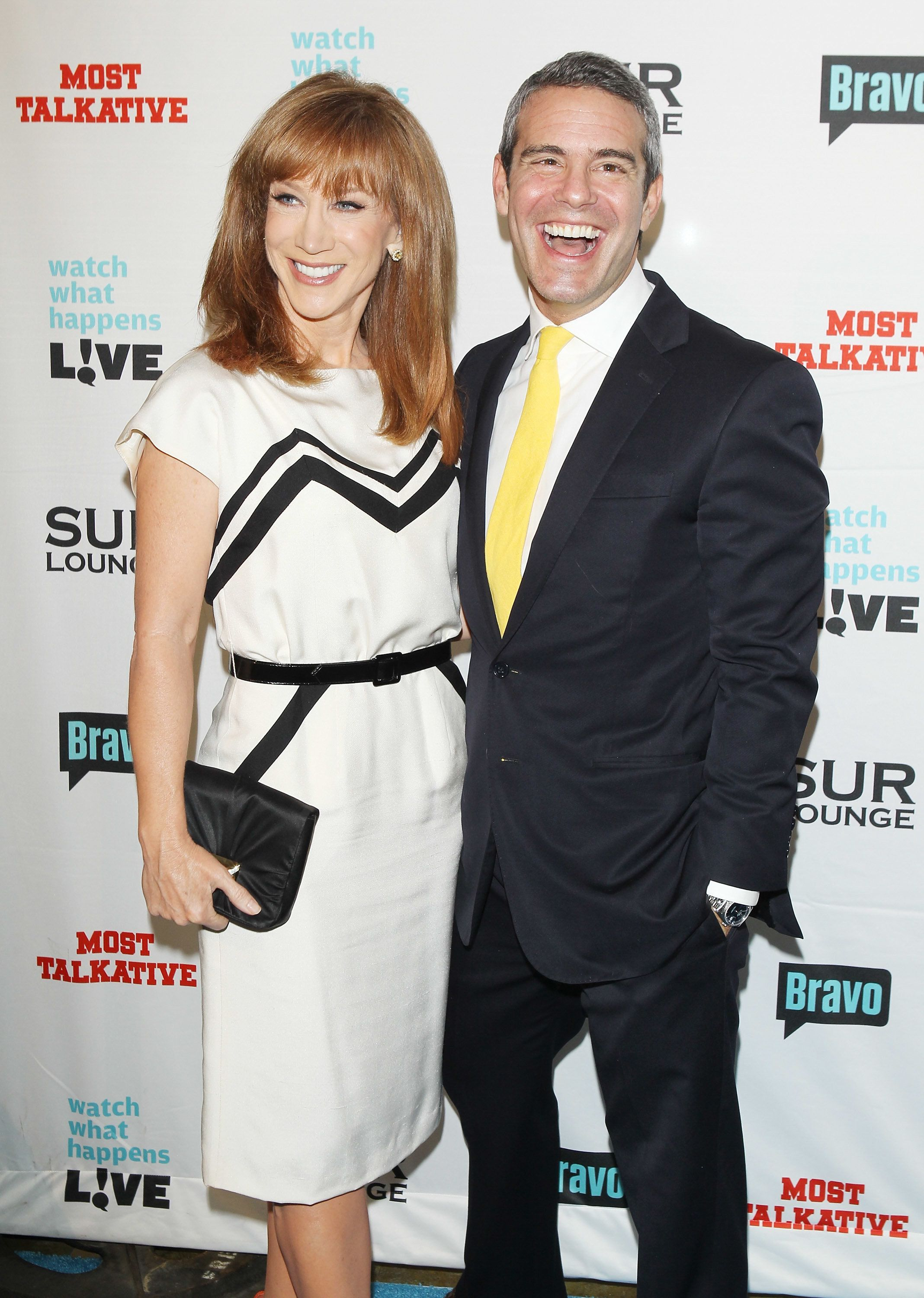 LOS ANGELES, CA - MAY 14:  Kathy Griffin and Andy Cohen arrive at Bravo's Andy Cohen's book release party for 'Most Talkative: Stories From The Front Lines Of Pop Culture' held at SUR Lounge on May 14, 2012 in Los Angeles, California.  (Photo by Michael Tran/FilmMagic)