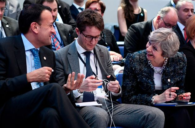 Leo Varadkar (left) and Theresa May (right) during the Gothernburg